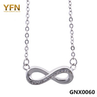 "GNX0060 Valentine's Gift 925 Sterling Silver Infinity Necklace Fashion Women Jewelry CZ ""8"" Pendant Necklace with O Chain 18"""