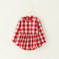 Girls Plaid Dress For New Autumn 2014 Baby Girl Brand Clothing Long Sleeve Cute Children Dress