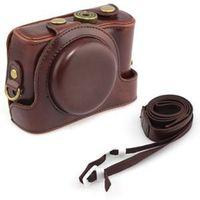 3C 2014 New Brand waterproof bag Grip Strap Dark Brown Leather camera case for Sony Cyber-Shot DSC-HX50V HX50 For Sale C3
