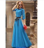 Plus Size New 2014 Summer& autumn Women Fashion Bohemian Long Beach Ultra Slim maxi Dresses Full Trench One-piece Dress