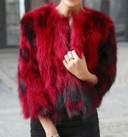 2014 new arrival women's real fur coat short design fox fur coats red/blue/purple/black, XS-XL, hot sale free shipping