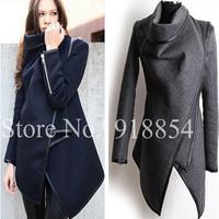 Autumn Winter Women Overcoat Long Zipper O-neck Full Pockets Solid Coats Fashion Stitching Asymmetrical Women's Jackets
