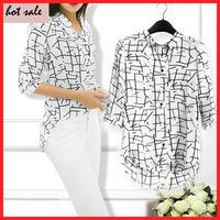 2014 New Summer auturn  Women mid-sleeve Print Chiffon Shirts Fashion Slim Blouses casual Shirts for Women