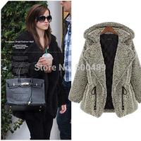 Women coats winter fashion 2014 british style women's coat plush cardigan coat jacket casual with fur for women faux fur coat