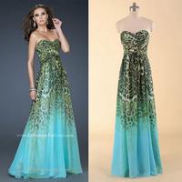 2014 Vestidos Leopard Print Ombre Chiffon Evening Dress Party Homecoming Women Dress In Stock