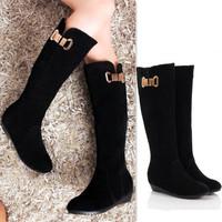Women Boots Genuine Leather Fur Lined Wedges Zipper Platform Bota Cano Longo Coturno Feminino Wellies Long Boot  Free Shipping