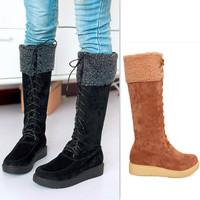 Women'S Snow Winter Long Boots Women Shoelace Shoes Platform Wellies Botas Femininas Cano Longo Galochas Female Free Shipping