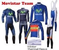 2014 movistar Thermal Fleece Cycling Jersey Long Sleeve and Bike bib Pants Ropa Ciclismo Clothing Maillot MTB Clothes C635