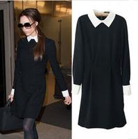 New Victoria Beckhams Dress Autumn Winter Elegant Long-sleeved Black Slim Bodycon Peter Pan Collar Dress Lapel Slim Dress