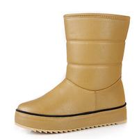 2014 women thick flat heels snow boots brand designer soft pu leather waterproof fashion ladies platform winter warm boots shoes