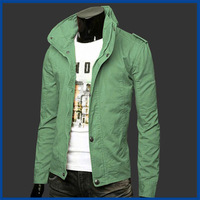 2014 New Fashion Men's Military Jacket Solid Color Stand Collar Water Wash Coat Windproof Men Casual-Jacket Free Shipping