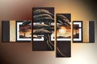 Framed hand-painted wall art cloud forest Decoration Modern Abstract landscape Oil Painting on canvas 4pcs/set mixorde