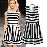 S/M/L/XL/XXL New Arrival 2014 Women Sweet Chiffon Tank Dress Fashion Mini Sleeveless Printing Dresses Plus Size  Free Shipping