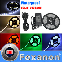 Foxanon Brand 5M 300Leds Led Strip 5630 As 5730 SMD 60led/m Flexible IP67 Waterproof + 12V 5A 60W Power Super Bright lamps