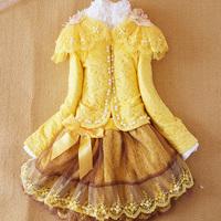 Set Retail,2014 New girl 3pcs clothing set pearl suit +lace shirt + tutu skirt children Elastic waist dress suits , high quality