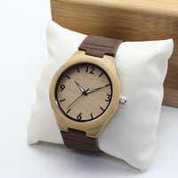 New Bamboo Wooden Men's Causal Genuine Leather Watches Luxuly Women's Wristwatches Great Christmas Idea Gifts With Wooden Box