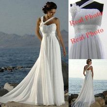 Vestidos de Noiva White Ivory Champange Cheap Beach Wedding Dress Plus Size Dresses Simple Wedding Dress Custom Made(China (Mainland))