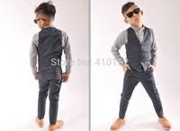 Free shipping 2014 new autumn sets spring sets vest +pants sets casual sets Children's sets boys suits thin model sets Boy suits