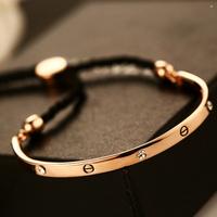 2014 New 14K gold plated logo men women bracelets  high quality brand ring gold rope bracelet fashion gold jewelry
