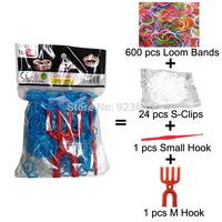 20 Packs/lot (600 Bands + 25 S-Clasps + 1 Small Hook + 1 M Hook) Loom Bands Set Bag Rubber Loom Bands DIY Bracelet (LB-03)
