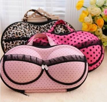 Free Shipping 2015 hot sale Hearts underwear storage box covered bra box panties socks travel portable bra bag #1081(China (Mainland))