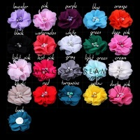 """(30pcs/lot)2"""" 20 Colors Mini Chiffon Flowers With Pearl Rhinestone Center For Hair Clips Lace Flower For Baby Hair Accessories"""