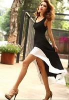 Promotion! 2014 Sexy Women Lady Deep U Neck Bare Back Backless Dress Hem Tank Swallow Tail Sleeveless Summer Long Dress
