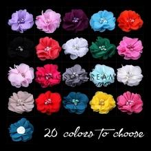 """( 120 pz/lotto ) 2 """" 20 colori diy mini chiffon fiori di pentecoste perla strass per le ragazze accessori nuovo caldo fiori dei capelli del bambino(China (Mainland))"""
