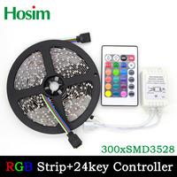 5M/roll 3528 RGB flexible led strip 300leds & 24key IR Romote Controller, white/warm white/blue/green/red/yellow/RGB