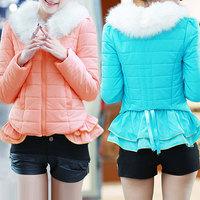 Casaco Feminino Inverno 2014 Winter Jacket Women Fur Collar Coat Candy Color Ruffles Spliced Short Parka Womens Duck Down WWM291