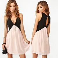 Trendy Girl Sexy Deep V-neck Stitching Back Hollow Chiffon Vest Dress Sleeveless Free&Drop shipping