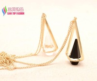 2014 christmas gift fashion 18K gold plated glass crystal designer long costume pendant & necklace for women bijoux wholesale