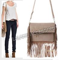 HOT !!  2014 New Women Tassel Cross Body Bags Ladies Messenger Bags Handbags Velour Solid Zipper Shoulder Bags 851624