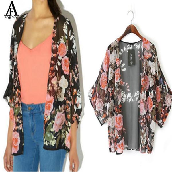 2015 Hot Summer Women Vintage Flower Prints Kimono Cardigans Coat Women Casual Cardigan Blouse AZ(China (Mainland))