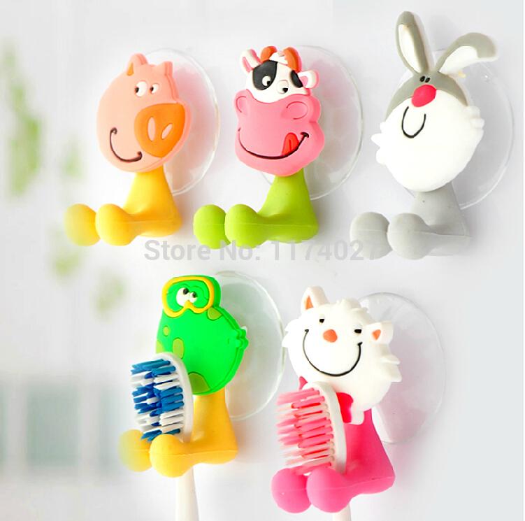 Free shipping cute Cartoon sucker toothbrush holder suction hooks bathroom set accessories Eco-Friendly(China (Mainland))