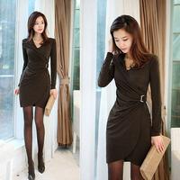 OVO!2014 new suits autumn&winter fashion OL style slim dress v-neck long sleeve cotton mini women dress dresses F.LYQ.491