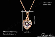 DWN130 Cute Heart Rhinestone Necklaces Pendants 18K Rose Gold Plated Fashion Brand Jewelry Crystal Anti Allergy