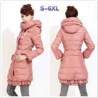 New Winter jacket Woman's Outerwear Slim Hooded Down Jacket Woman Warm Down Coat Lace Plus Size Jacket 3XL 4XL 5XL 6XL C1735