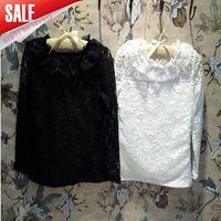 New Style 5pcs/1lot 2014 autumn girls fashion lace floral long sleeve white black t shirt kids princess tops