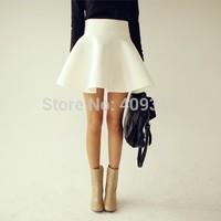 2014 Summer Autumn Big Plus Size Women White Vintage Ladies Saia High Waist Flared Puff Skirt Mini Skater Ball Gown Short Skirts