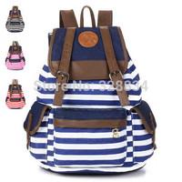 HOT! Unisex Fashionable Canvas Backpack School Bag Super Cute Stripe School College Laptop Bag for Teens Girls Boys Students
