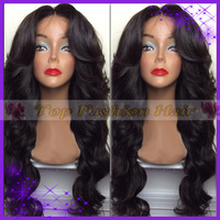 Heavy density  body wave 4X4 silk base wigs silk top lace front wig peruvian virgin human hair with baby hair blenched knots
