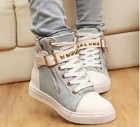 new 2014 Women casual ankle boots for women zipper canvas sport buckle rivet Sneakers shoelace anti-slip shoes 8A28