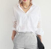 2014 autumn fashion patchwork loose plus size women's white shirt