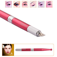 2015 Arrival M5 Red Professional Manual Permanent Makeup Eyebrow Pen Tattoo Machines 50pcs 7-Pin Needle Blades Free Shipping(China (Mainland))