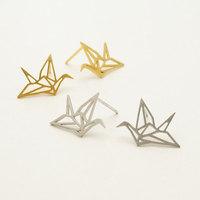 Stainless Steel swan Origami Crane Stud Earrings for women free shipping