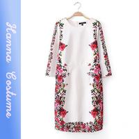 New arrival printed vintage women dress 2014 autumn half sleeve vestidos for woman