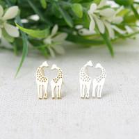 Stainless Steel new style lover giraffe stud earrings women jewelry free shipping