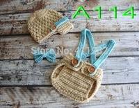 free shipping,Crochet Baby boy khaki Newsboy hat,blue bow tie,overalls,Baby hat,shorts set Newborn Photo Prop NB-3M 100% cotton