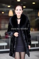 Free shipping plus size 2014 Fashion Fur coat mink overcoat female medium-long fight mink outerwear make in Korea